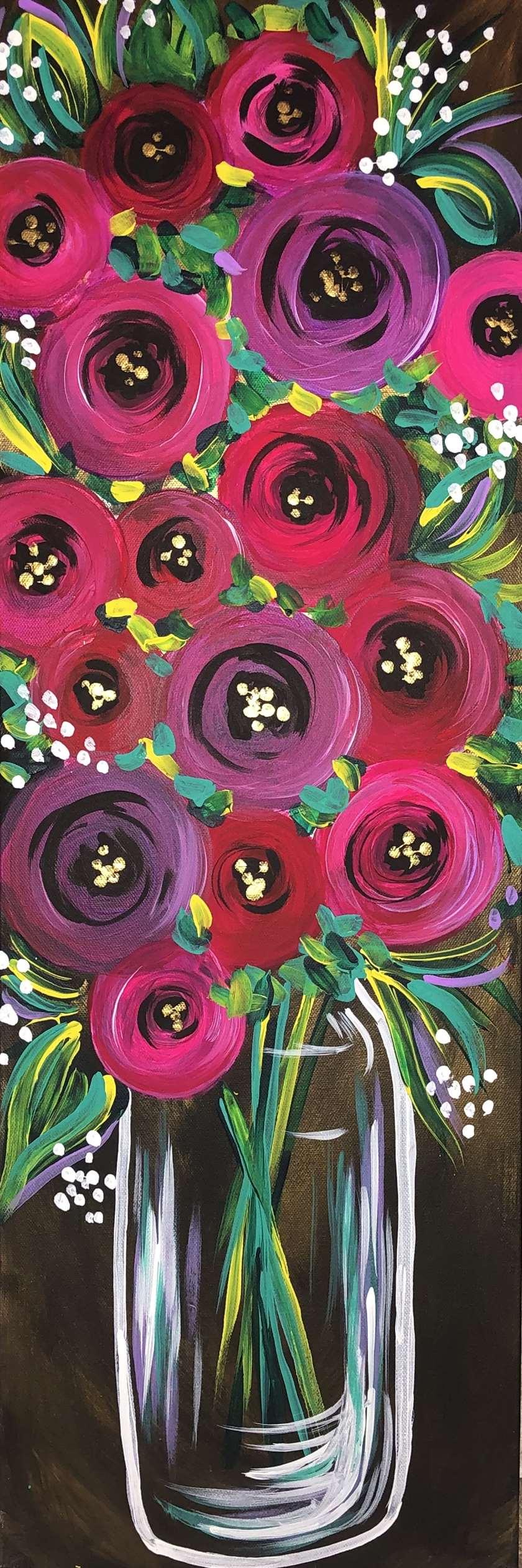 10 x 30 Canvas!  Raspberry Rosettes