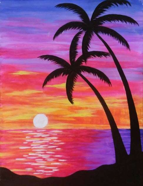 """""""Paradise Sunset""""  Blacklight Painting Party!!"""