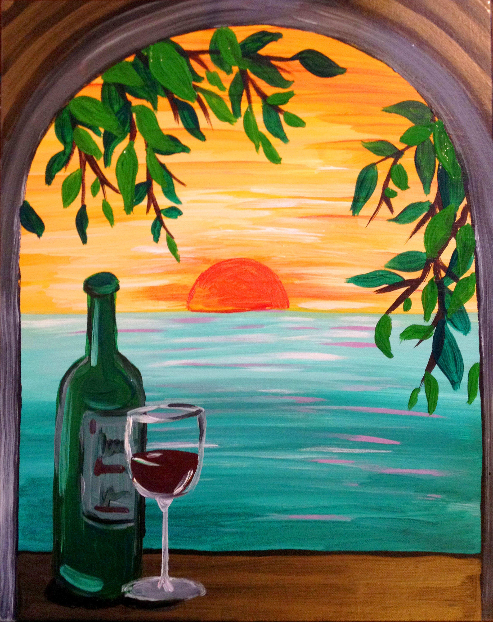 Paradise with a view pinot 39 s palette painting for Sip and paint houston