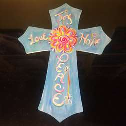 Peace, Love, Hope and Joy Wooden Cross Cut Out