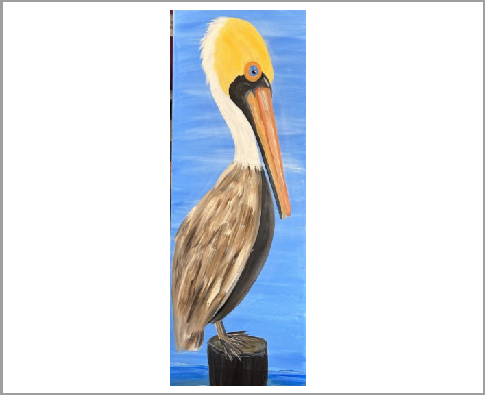 Pelican on Watch - On canvas or upgrade to wood pallet