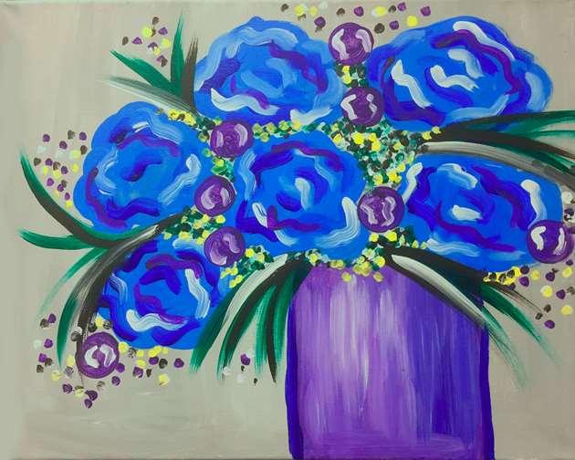 Peonies in Blue