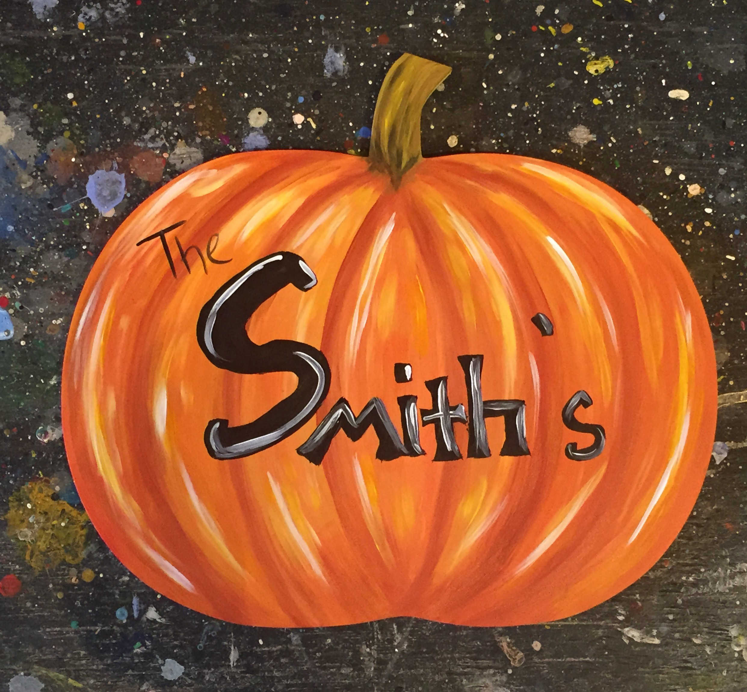 Personalized Wooden Pumpkin Cutout Pinot S Palette Painting