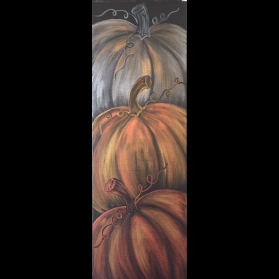 10 x 30 Canvas!  Pile of Pumpkins