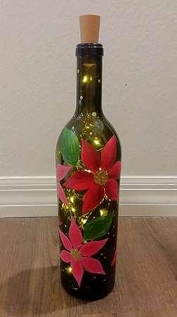 Poinsettia Wine Bottle