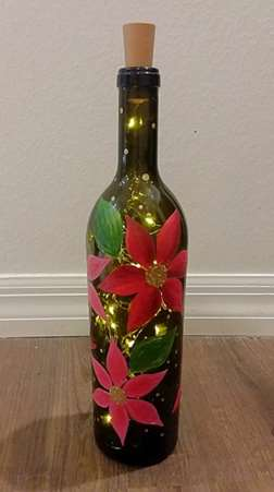 Poinsettia Wine Bottle