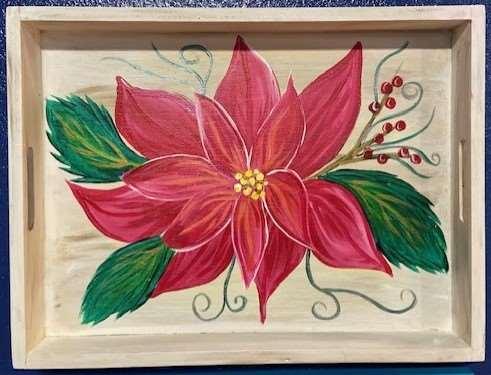 Poinsettia Wood Tray