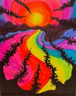 Psychedelic Black Light Trees