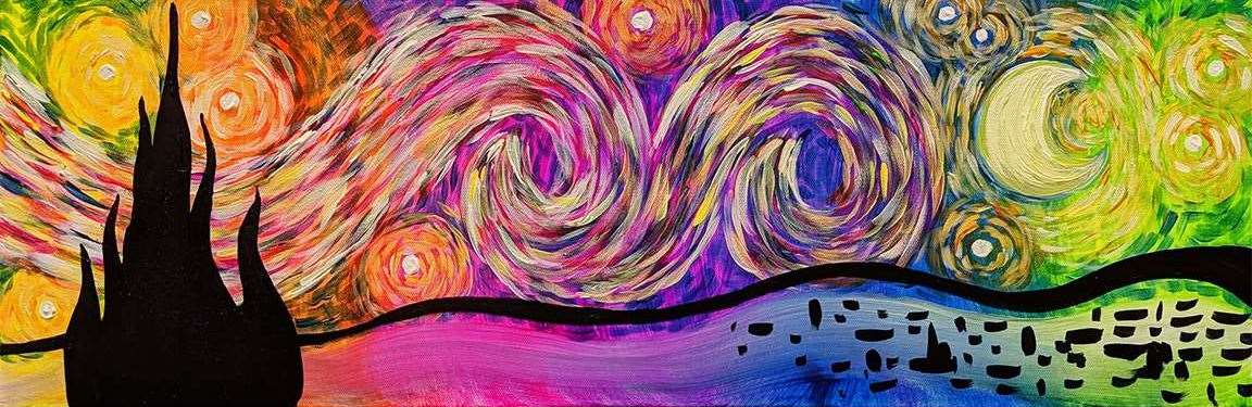 Psychedelic Starry Night 10x30