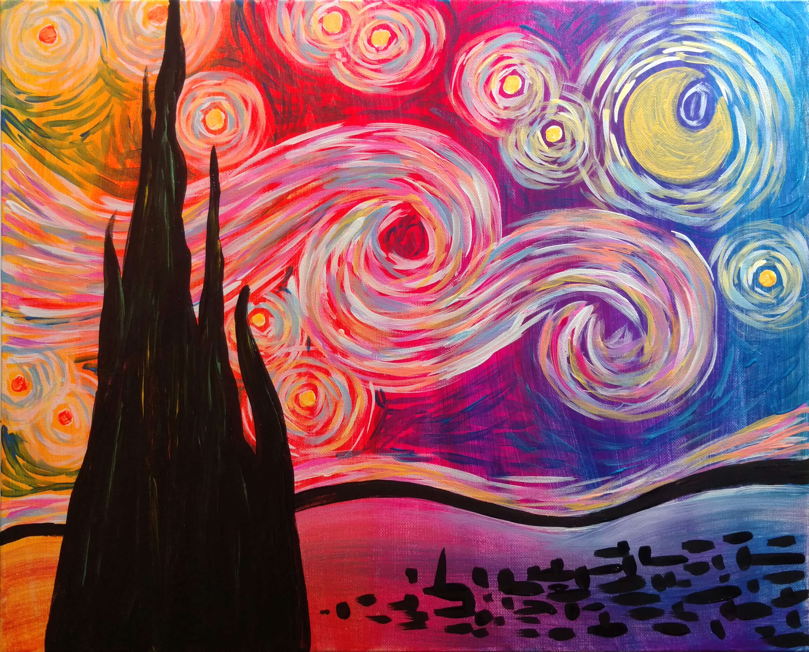 Psychedelic Starry Night - Pinot's Palette Painting