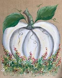 Pumpkin Flower Patch - Burlap Canvas