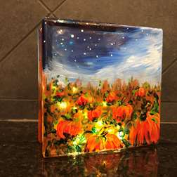 Pumpkin Patch Glass Block
