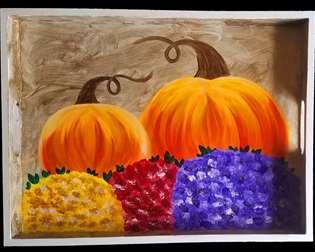 Pumpkins and Mums Tea Tray