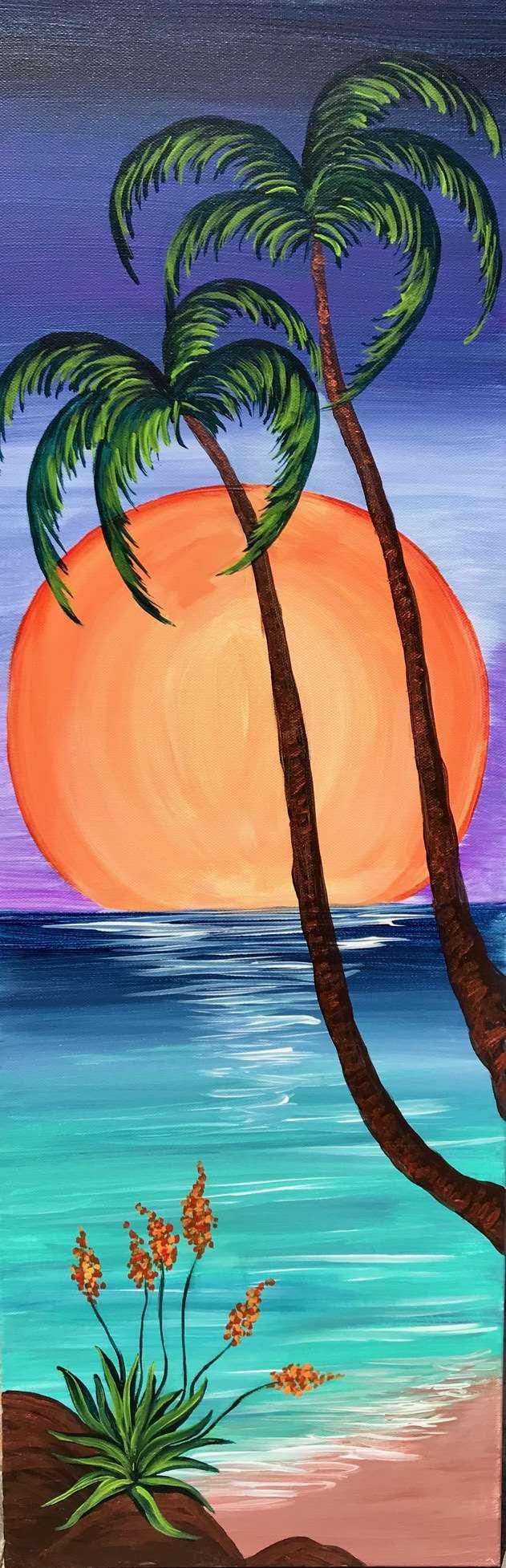 10 x 30 Canvas!  Radiant Tropical Moon