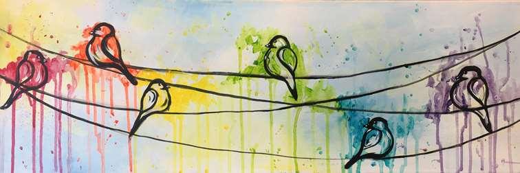 Rainbow Birds on a Wire