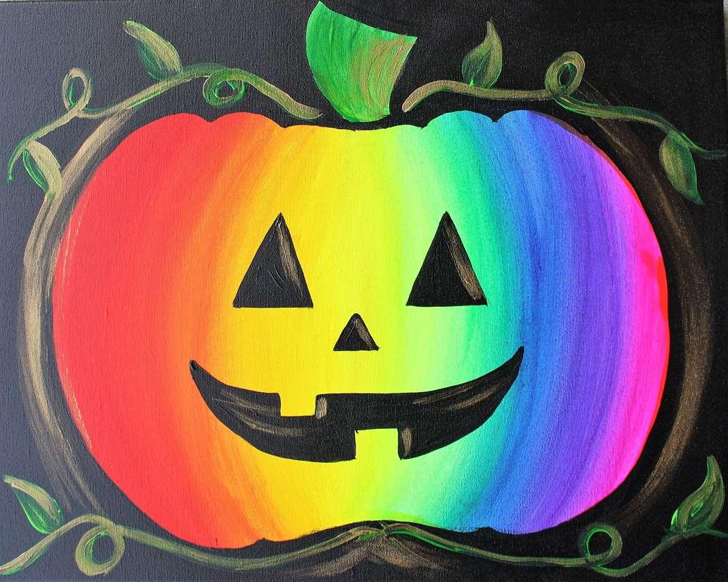Rainbow Jack-O-Lantern - Black Light Painting!