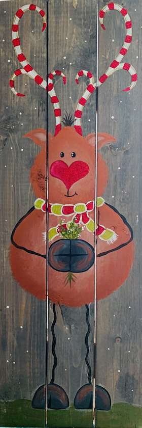 Reindeer Smooches on Wood