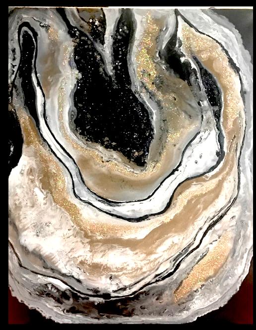 Paint Pour w/ glass, rocks, glitter