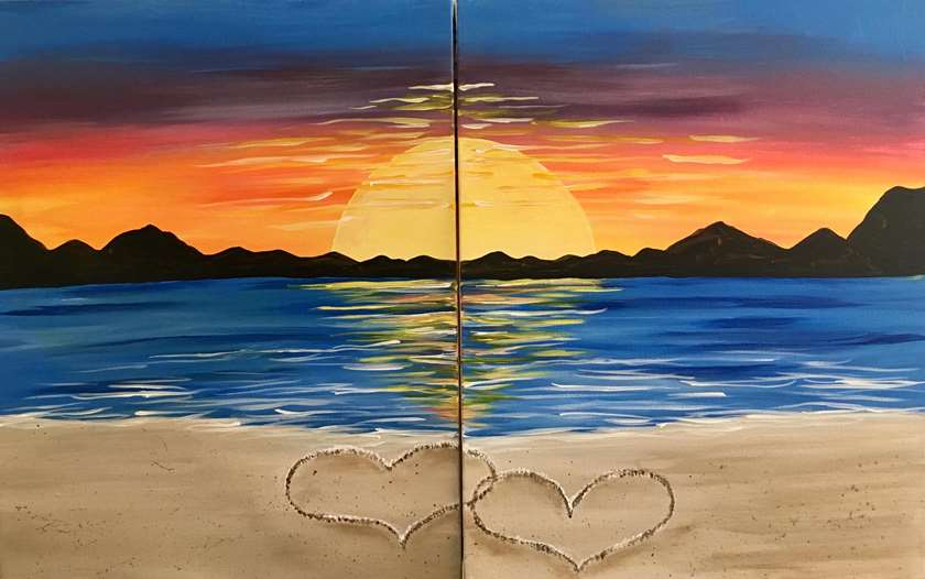 IN STUDIO CLASS: ROMANCE ON THE BEACH (SINGLE OR DATE NIGHT) - LIMITED SEATING