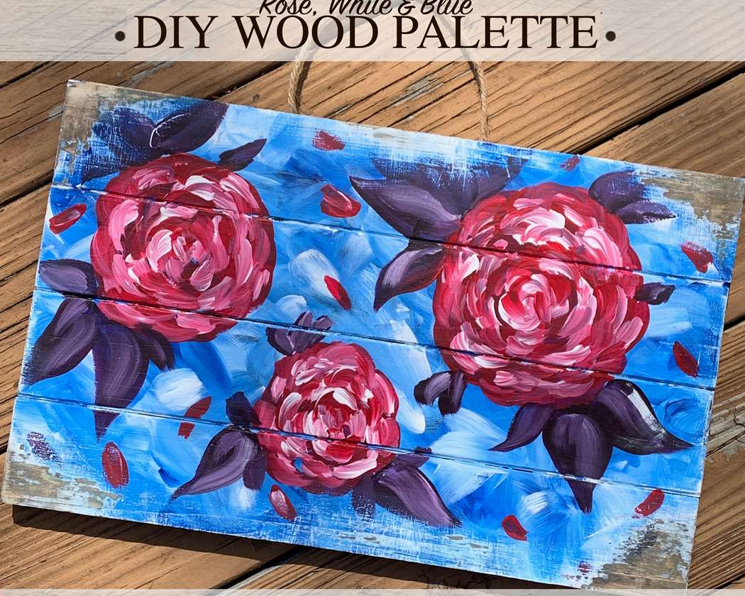 Rose, White, and Blue Wood Palette