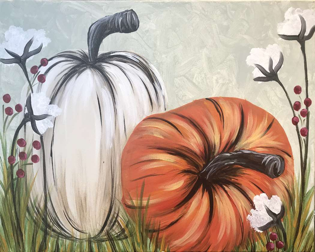Amazing pumpkin painting on a wood tray or canvas.