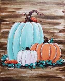 Rustic Pumpkin Trio on Canvas