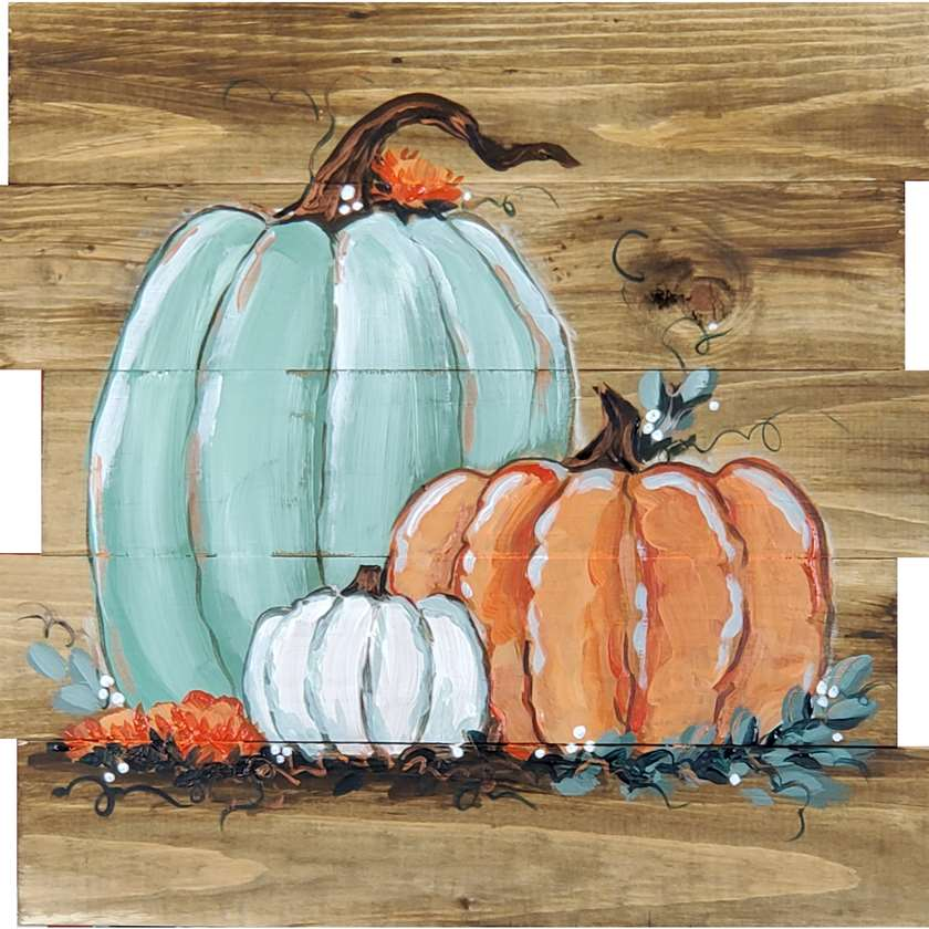 IN-STUDIO EVENT --  LIMITED SEATING RUSTIC PUMPKIN TRIO ON WOOD