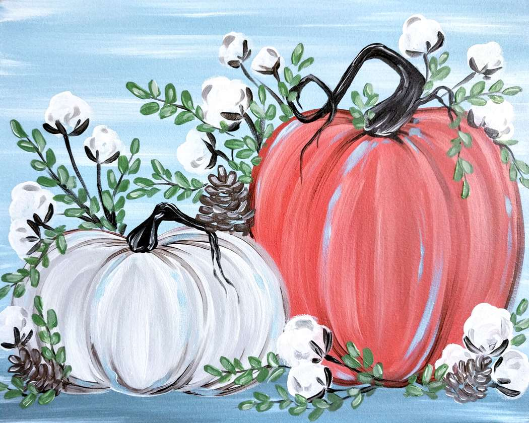 Rustic Pumpkins and Cotton