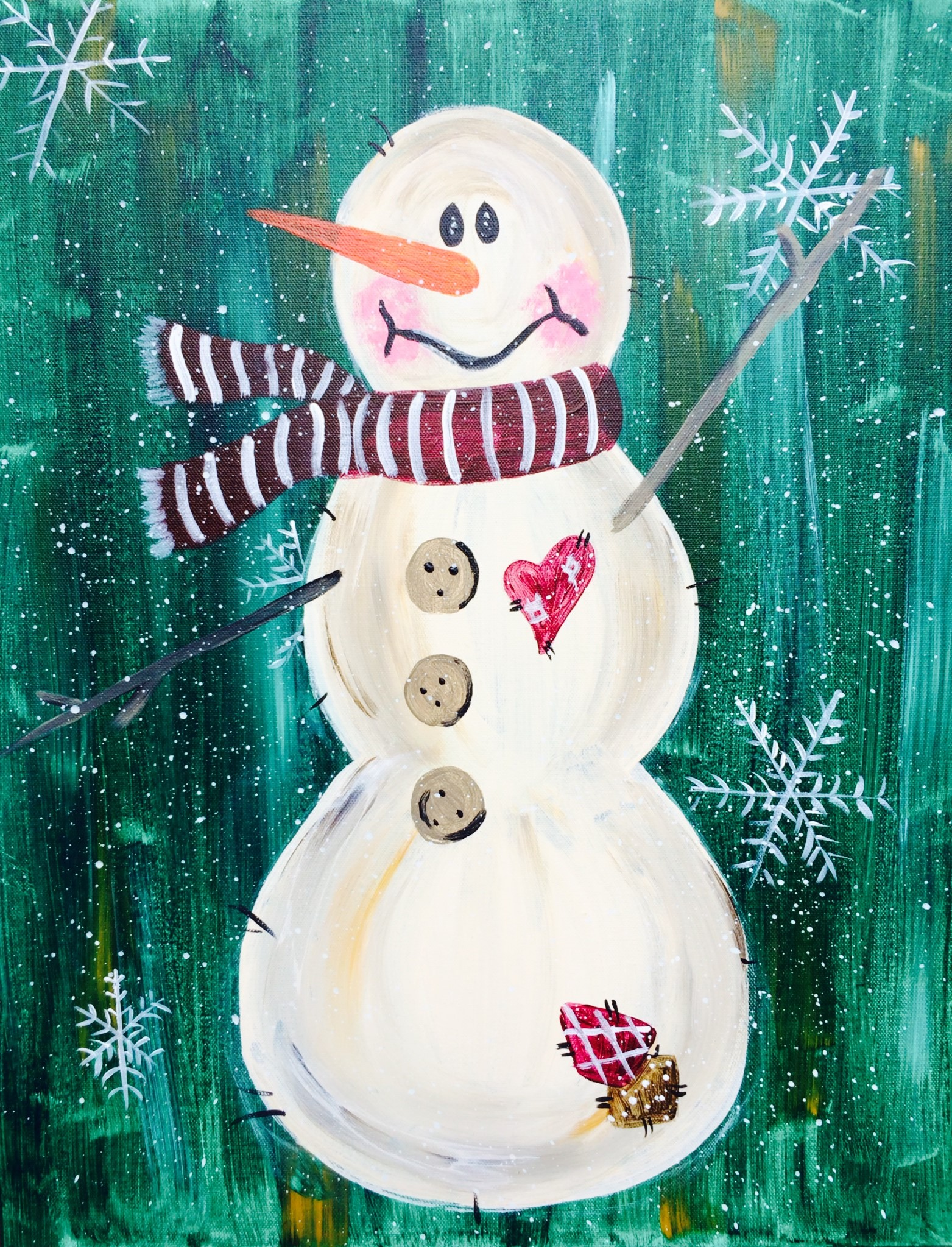 Rustic snowman pinot 39 s palette painting for Sip and paint houston