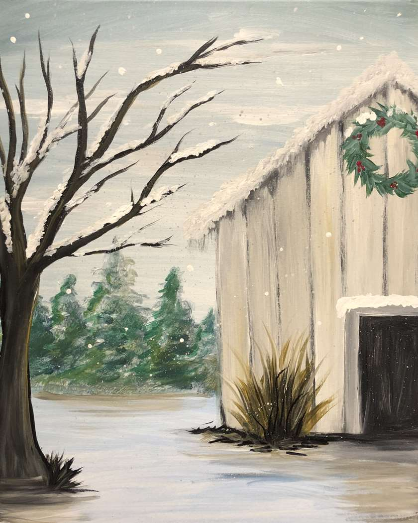 Rustic Winter Barn - with Texas flag option