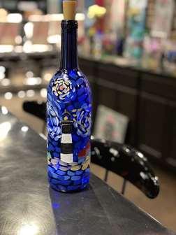 Salty Skies Wine Bottle Painting