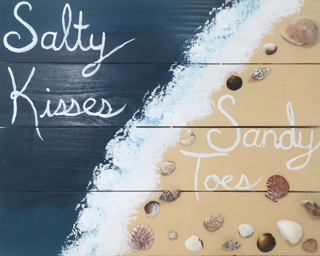 Sandy Toes & Salty Kisses Wood Palette Sign