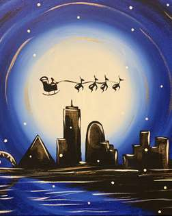 Santa Over Snowy Memphis