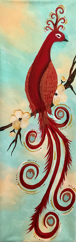 Scarlet Peacock - Stencil Provided!