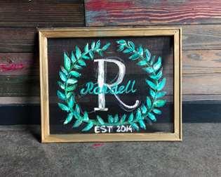Screen Art - Monogram Wreath