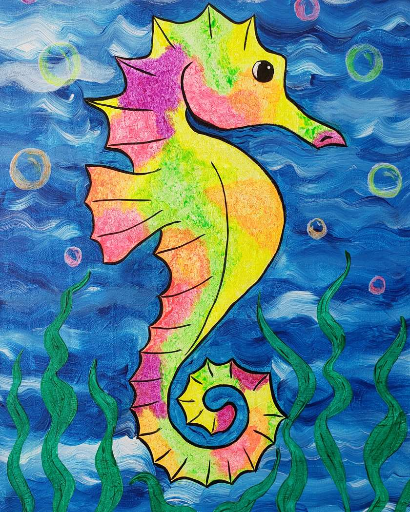Family Fun - Black Light!  Seahorse Surprise