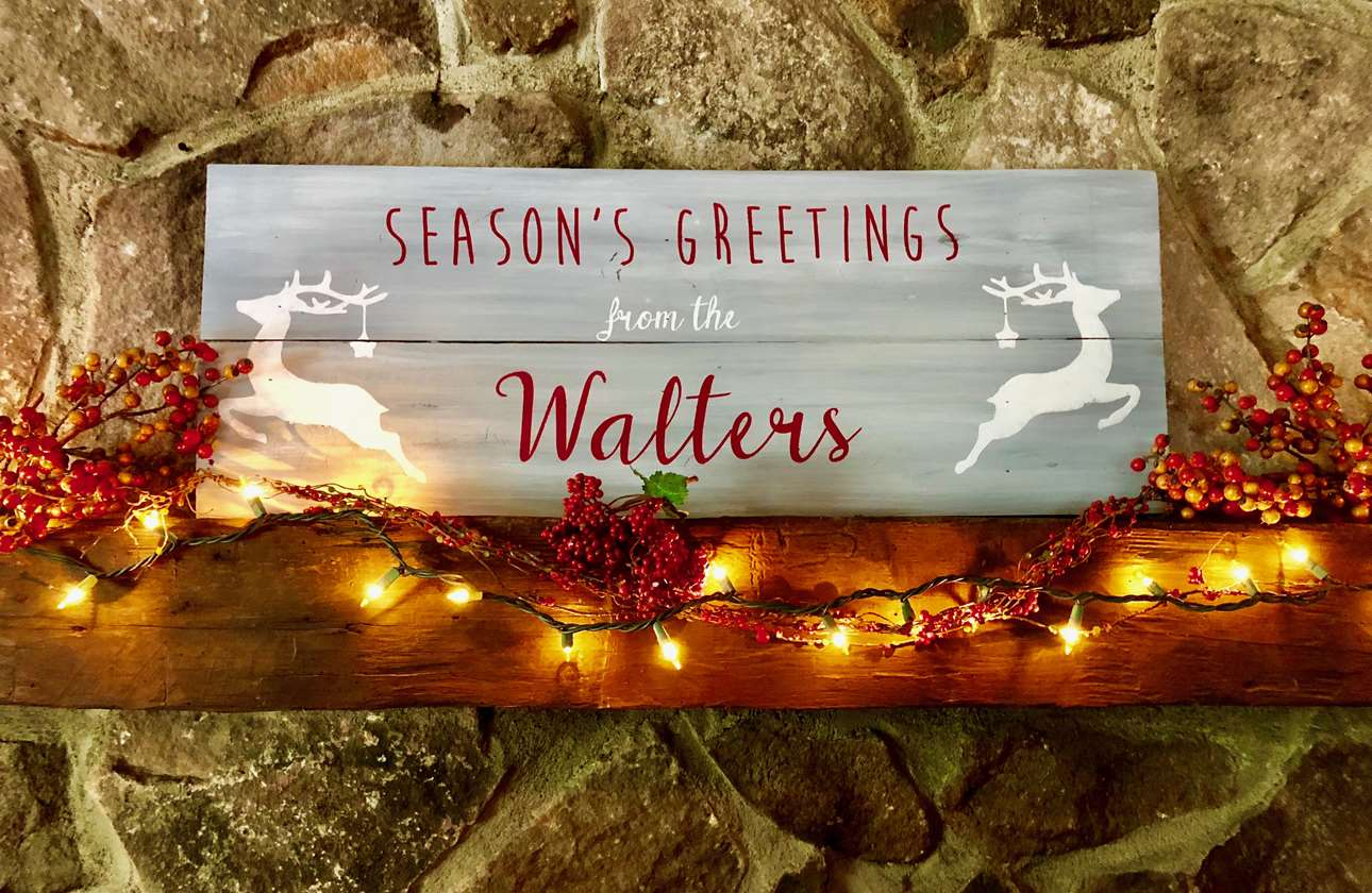 Season's Greetings Wood Board