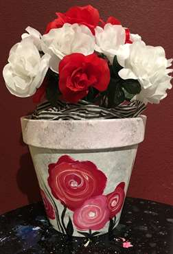 Shabby Chic Cottage Blooms Pot