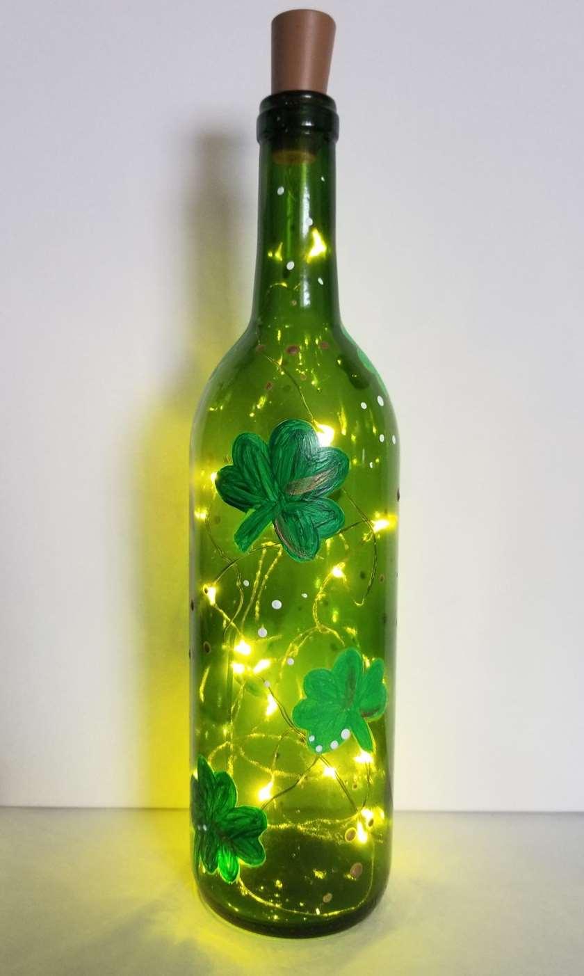 Shamrock Wine Bottle with Lights