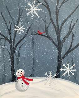 Snowman in the Woods