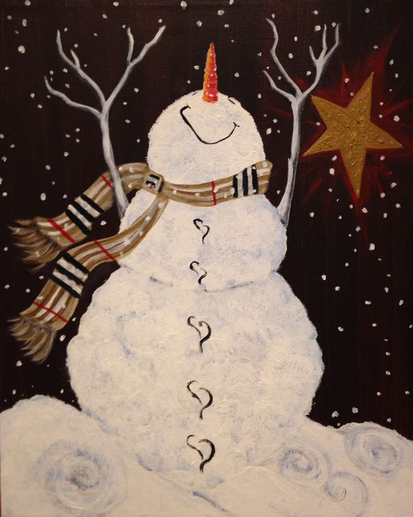 LIVE VIRTUAL CLASS + 7 DAYS ON-DEMAND: SNOWMAN'S BLISS - OPTIONAL LED LIGHTS AVAILABLE - INCLUDES PAINT FROM HOME ART KIT