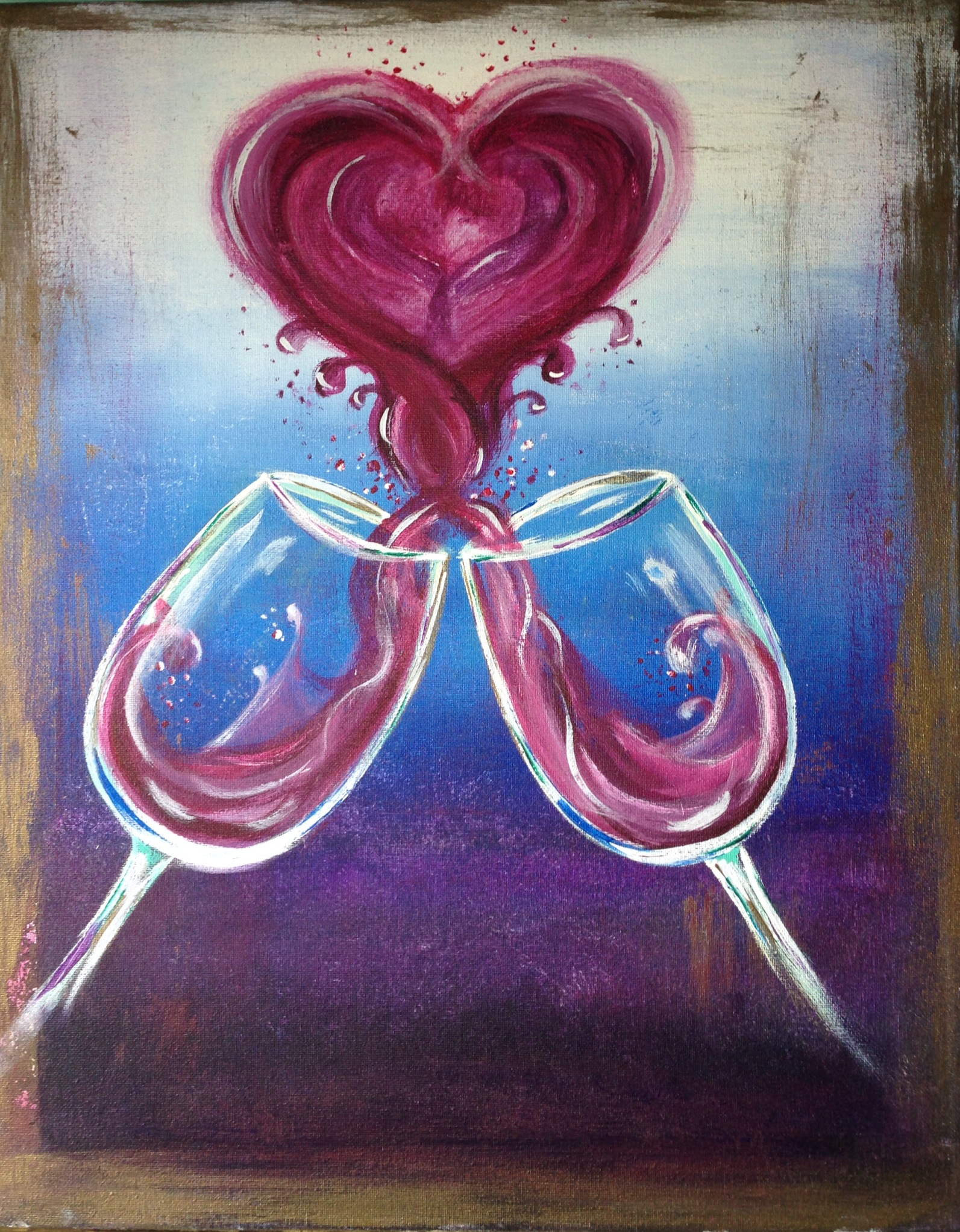 Splash pinot 39 s palette painting for Acrylic paint on wine glasses