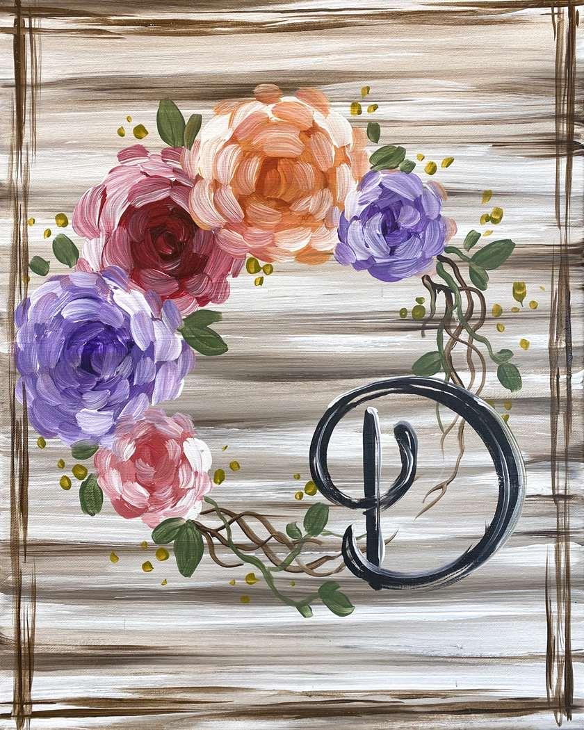 Spring Monogram Wreath
