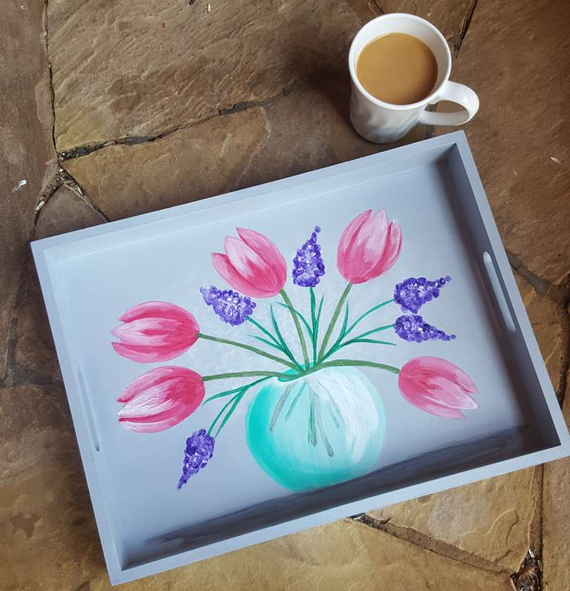 Spring Tulips Tea Tray - $10 Off Bottles of Wine