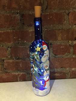 Stacking Snowmen Wine Bottle with Lights