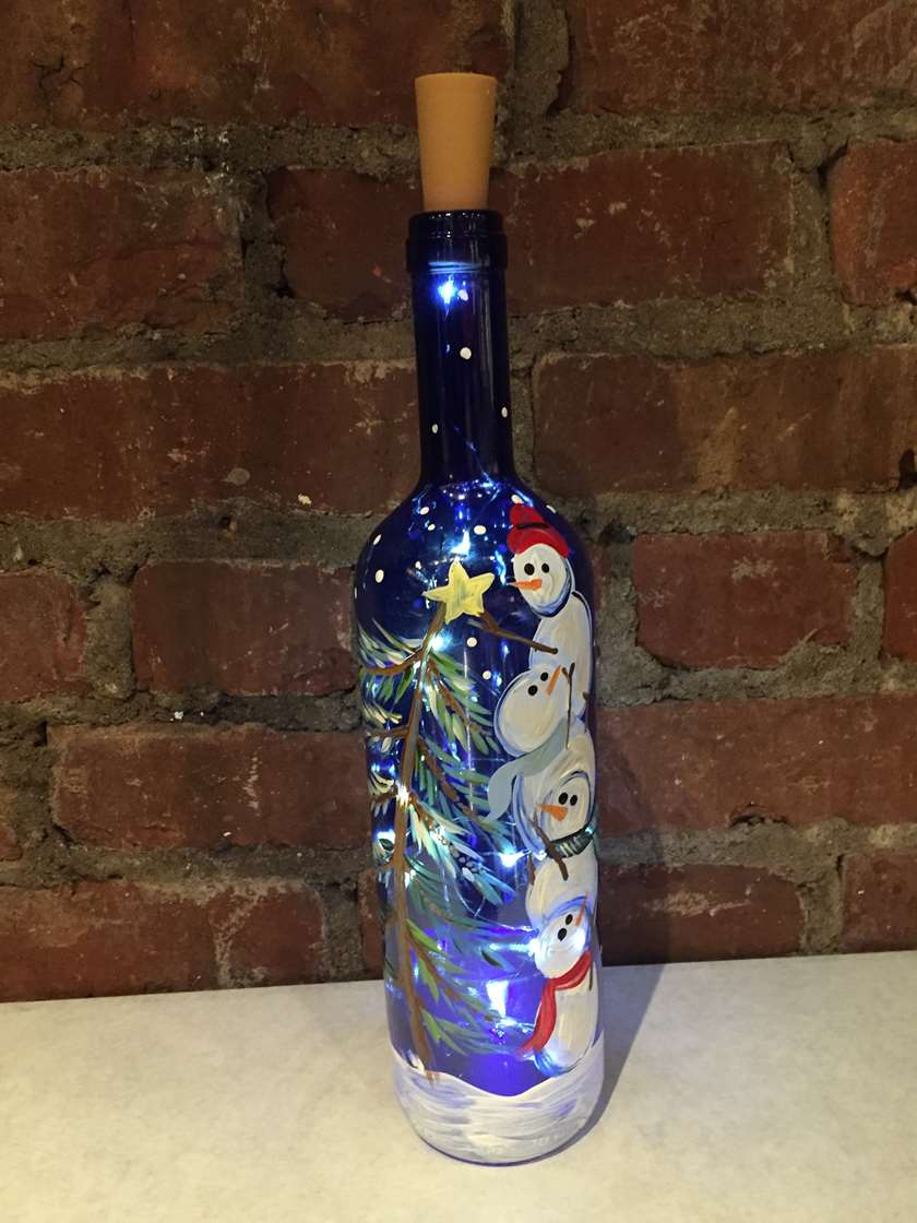 Wine Bottle Painting w/ LED Lights!