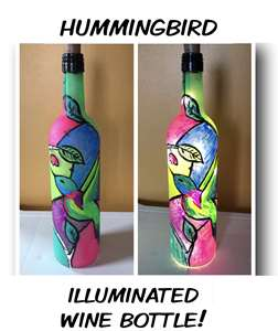 Stained Glass Hummingbird Wine Bottle