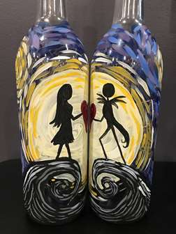Starry Heart Lovers Wine Bottle Date Night