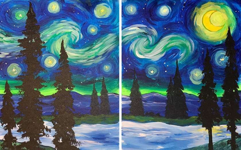 DATE NIGHT!!!  25.00 a CANVAS!!!  VIRTUAL CLASS! WITH and WITHOUT SUPPLIES!
