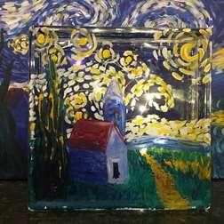 Starry Night Glass Block